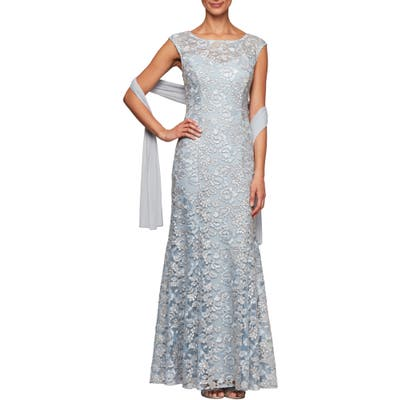 Alex Evenings Floral Embroidered Evening Gown With Wrap, Blue