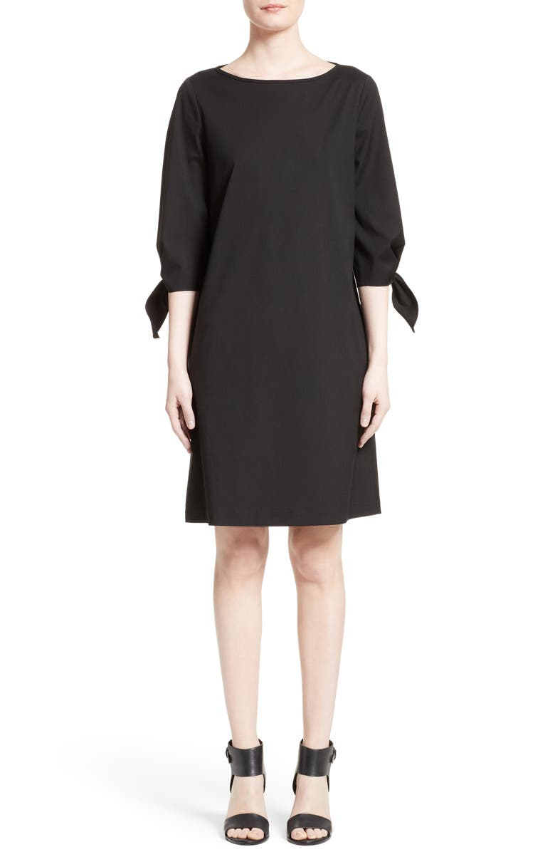 LAFAYETTE 148 NEW YORK Elaina Stretch Cotton Dress, Main, color, BLACK