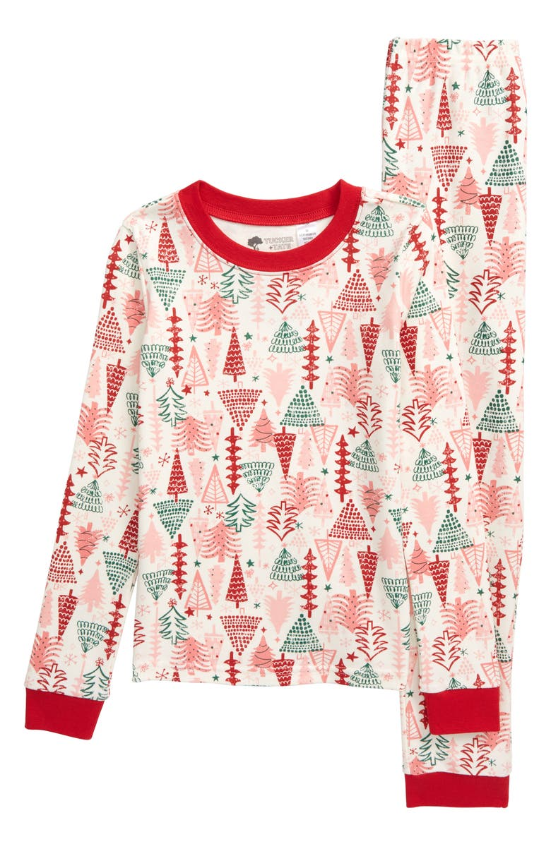 TUCKER + TATE Fitted Two-Piece Pajamas, Main, color, IVORY EGRET CHRISTMAS TREES