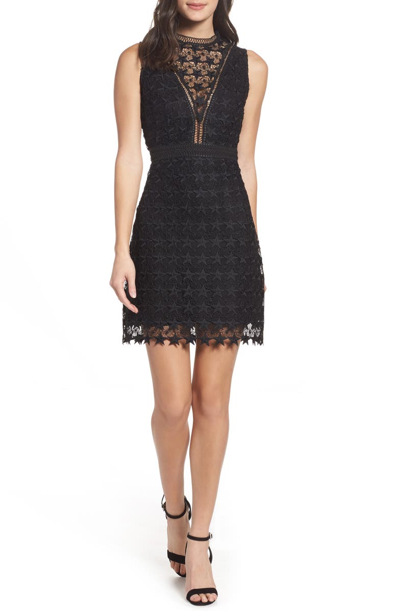 SAM EDELMAN Star Lace Sheath Dress, Main, color, 001