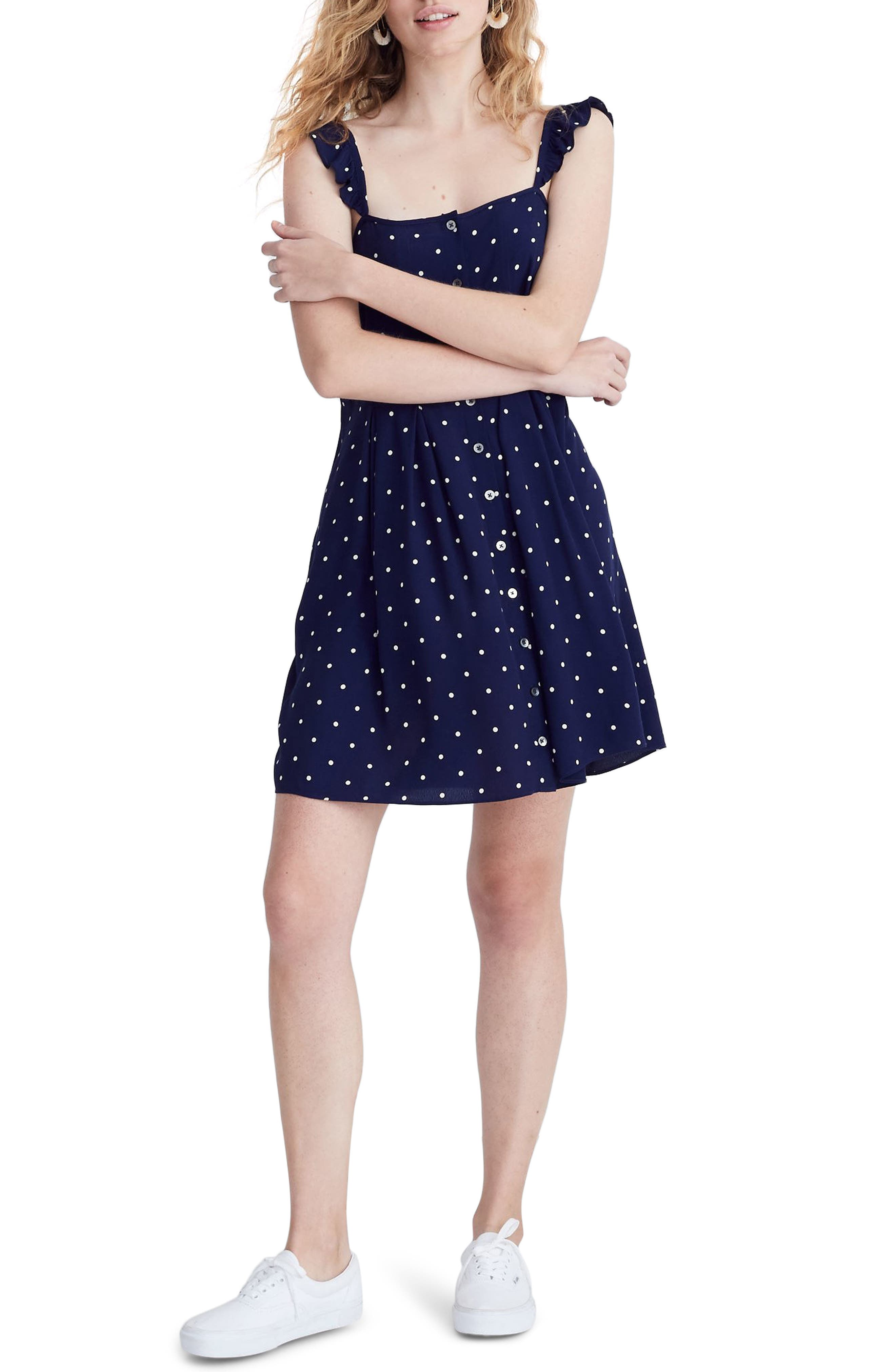 Madewell Polka Dot Ruffle Strap Button Front Dress, Blue