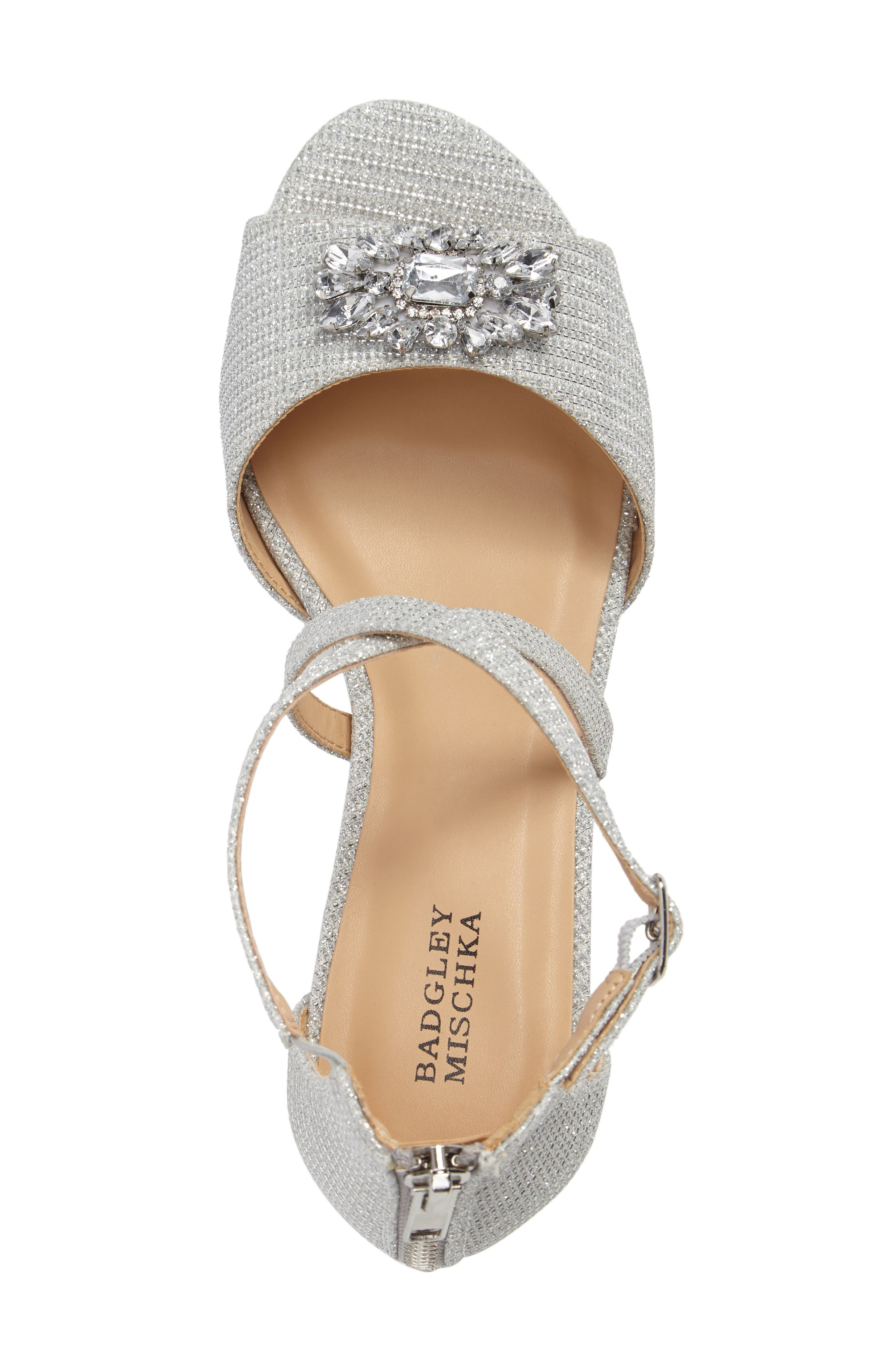,                             Badgley Mischka Pernia Gems Sandal,                             Alternate thumbnail 5, color,                             WHITE