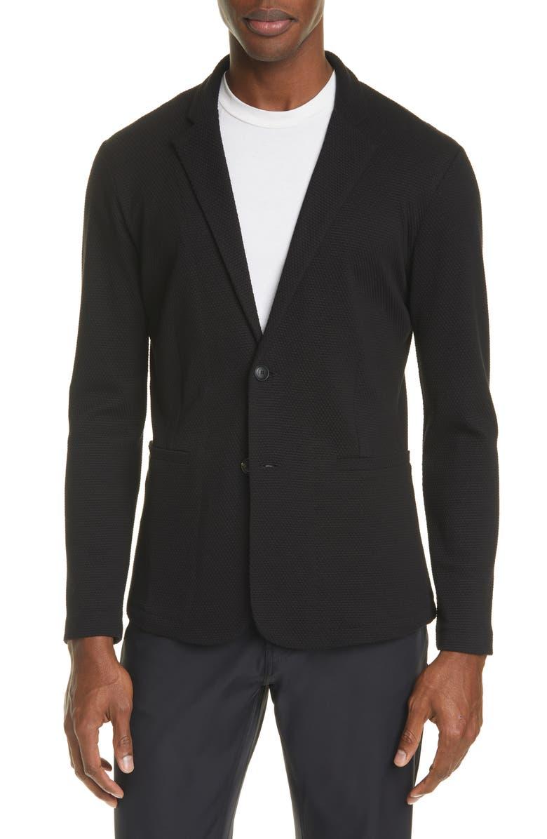 EMPORIO ARMANI Trim Fit Knit Cotton Blend Blazer, Main, color, 001
