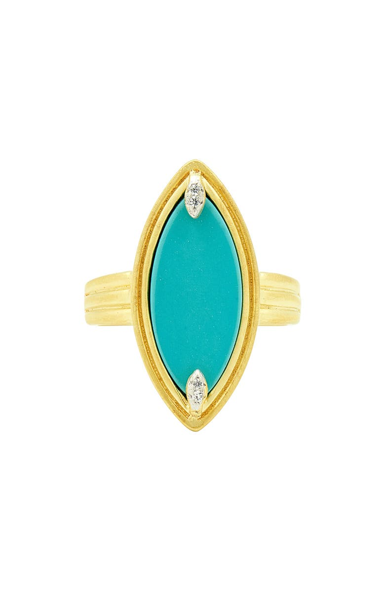 FREIDA ROTHMAN Fleur Bloom Empire Turquoise Cocktail Ring, Main, color, GOLD/ WHITE/ TURQUOISE