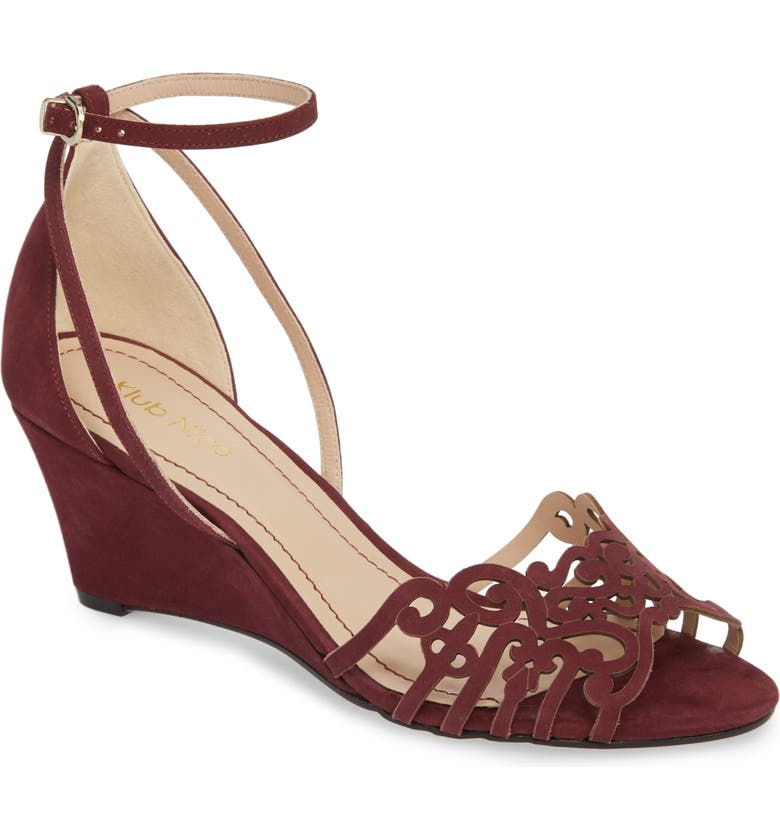 KLUB NICO 'Kingston' Ankle Strap Wedge Sandal, Main, color, WINE LEATHER