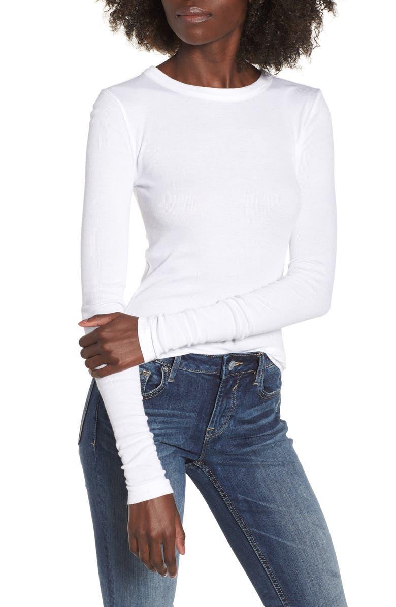 BP. Ribbed Long Sleeve Tee, Main, color, WHITE