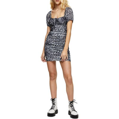 Topshop Ruched Minidress, US (fits like 2-4) - Grey