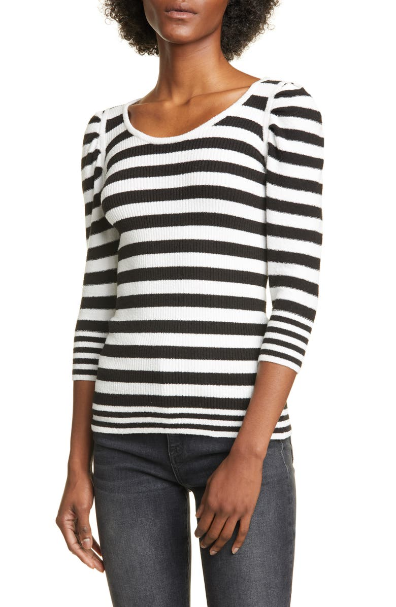 SMYTHE Puff Sleeve Stripe Cotton Blend Sweater, Main, color, BLACK/ WHITE STRIPE