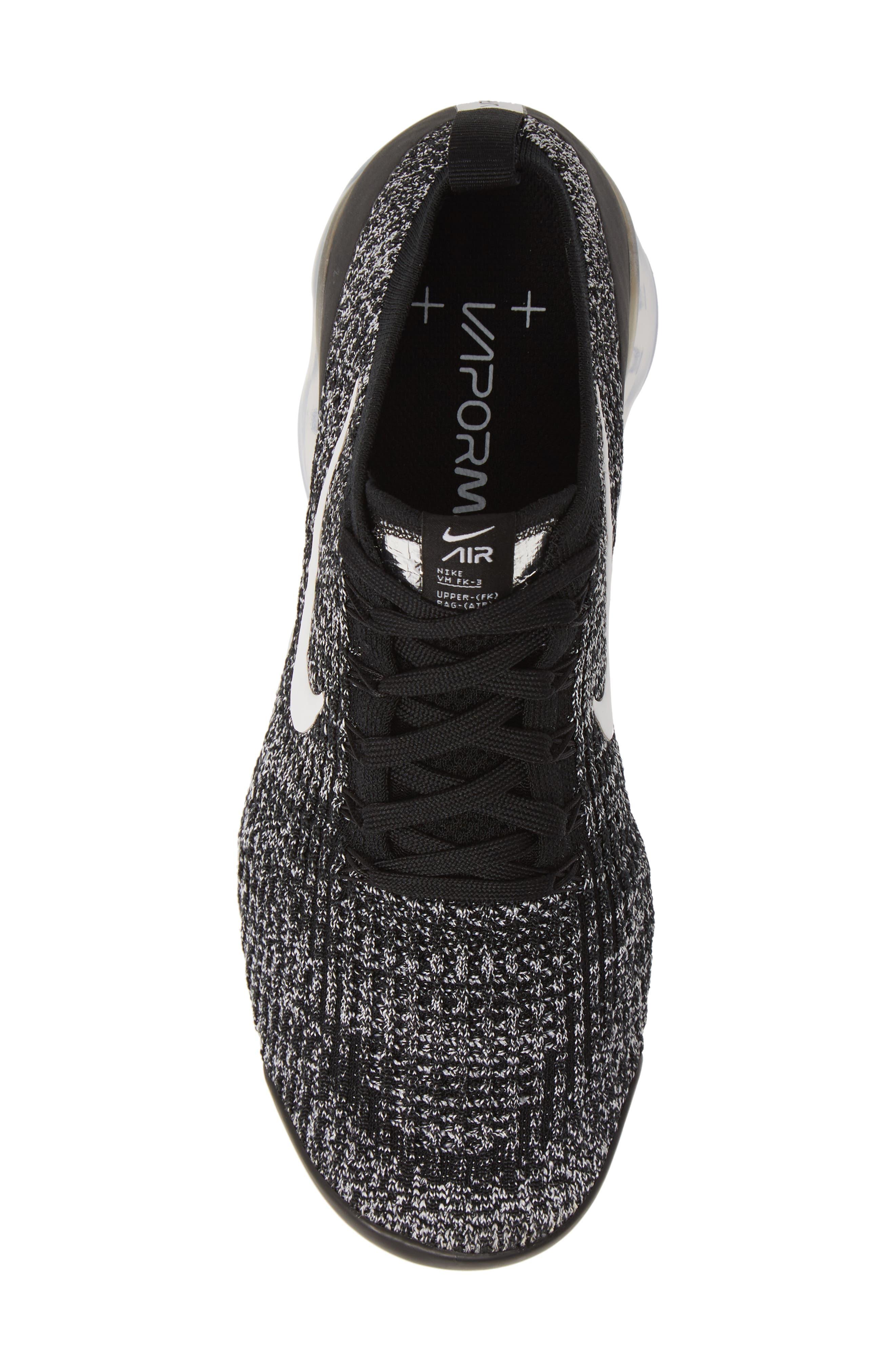,                             Air VaporMax Flyknit 3 Sneaker,                             Alternate thumbnail 5, color,                             BLACK/ WHITE/ METALLIC SILVER