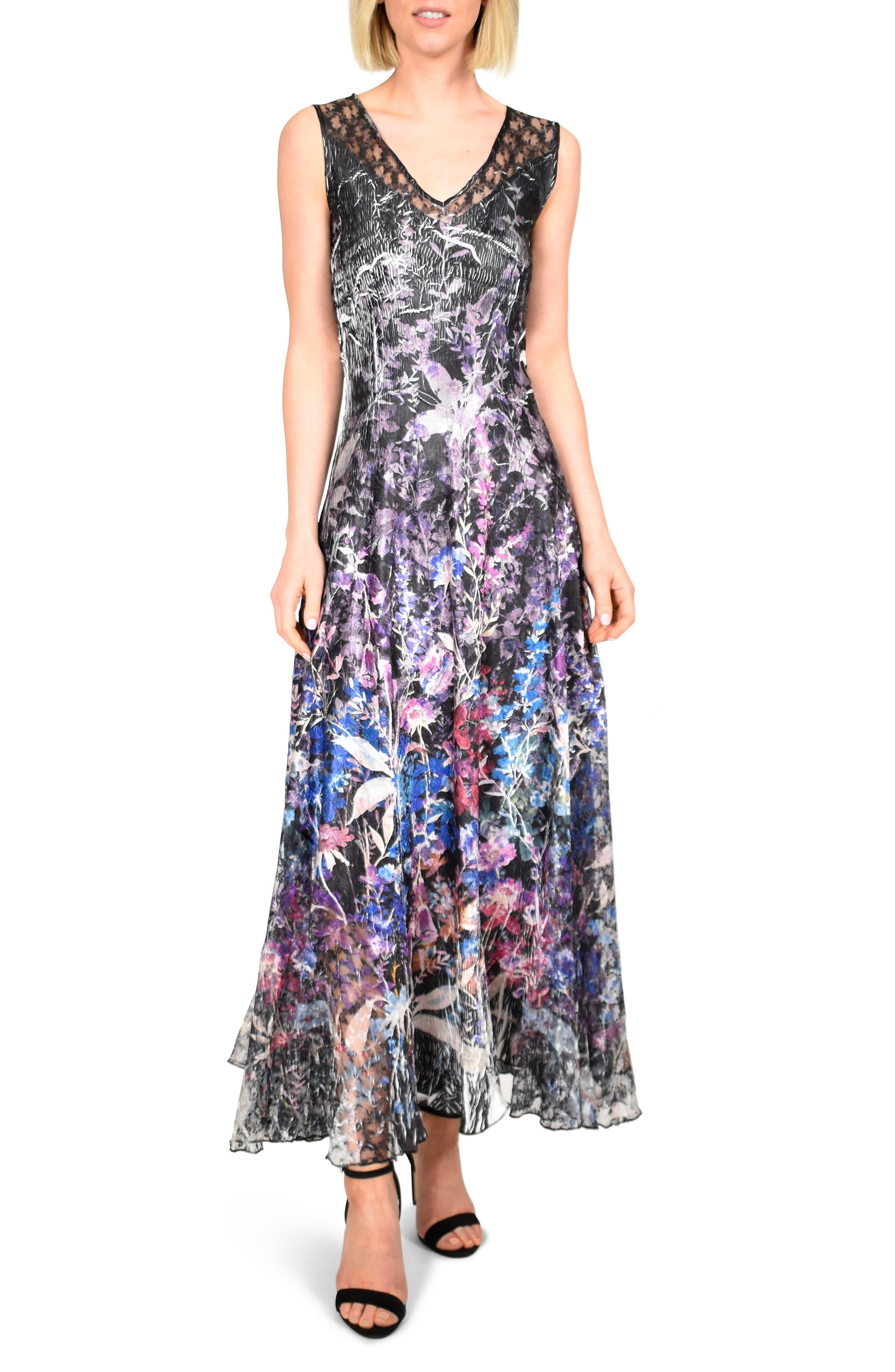 Petite Komarov Lace-Up Back Charmeuse Gown, Black