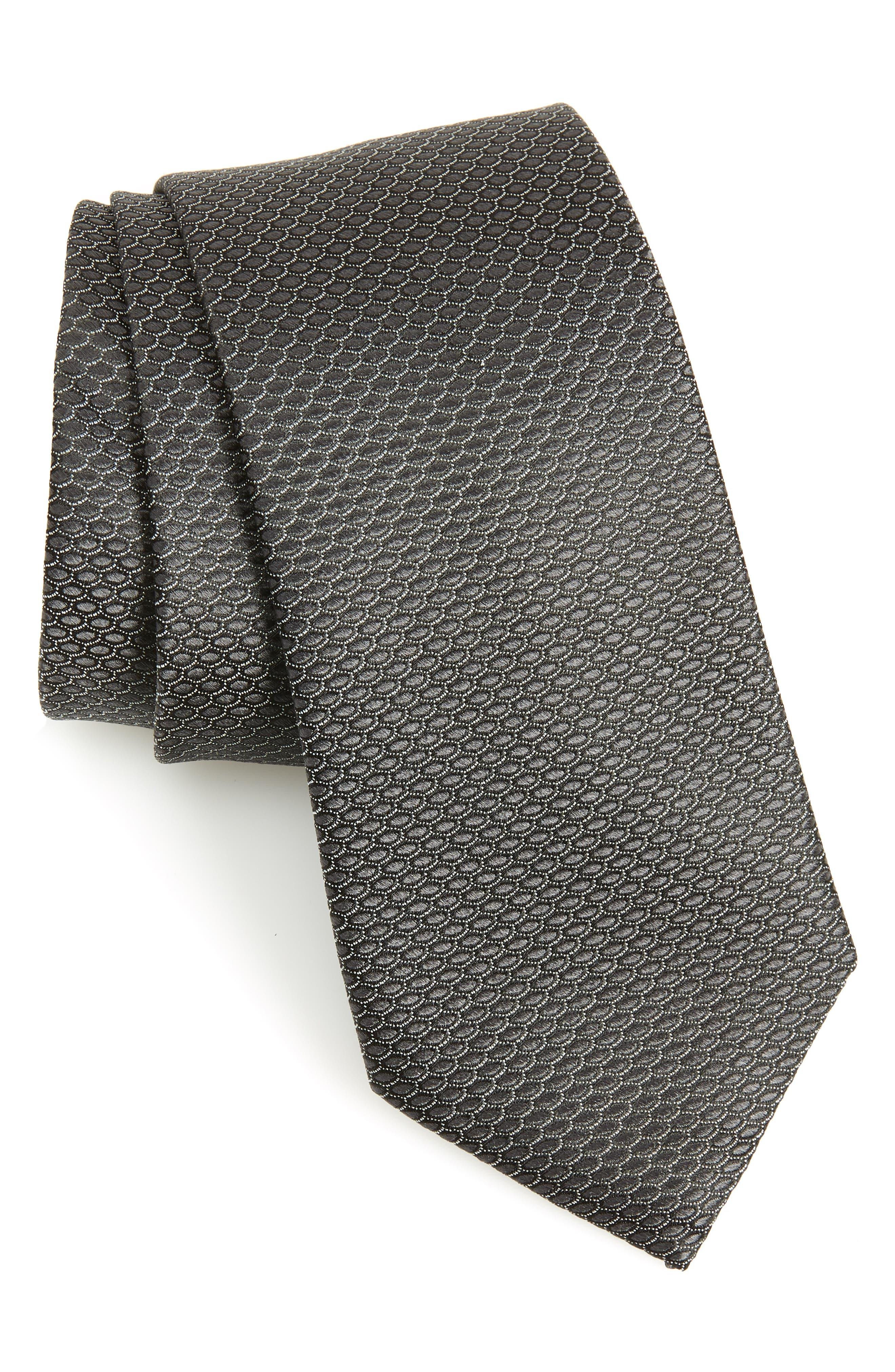 Soda Geometric Silk Tie, Main, color, BLACK