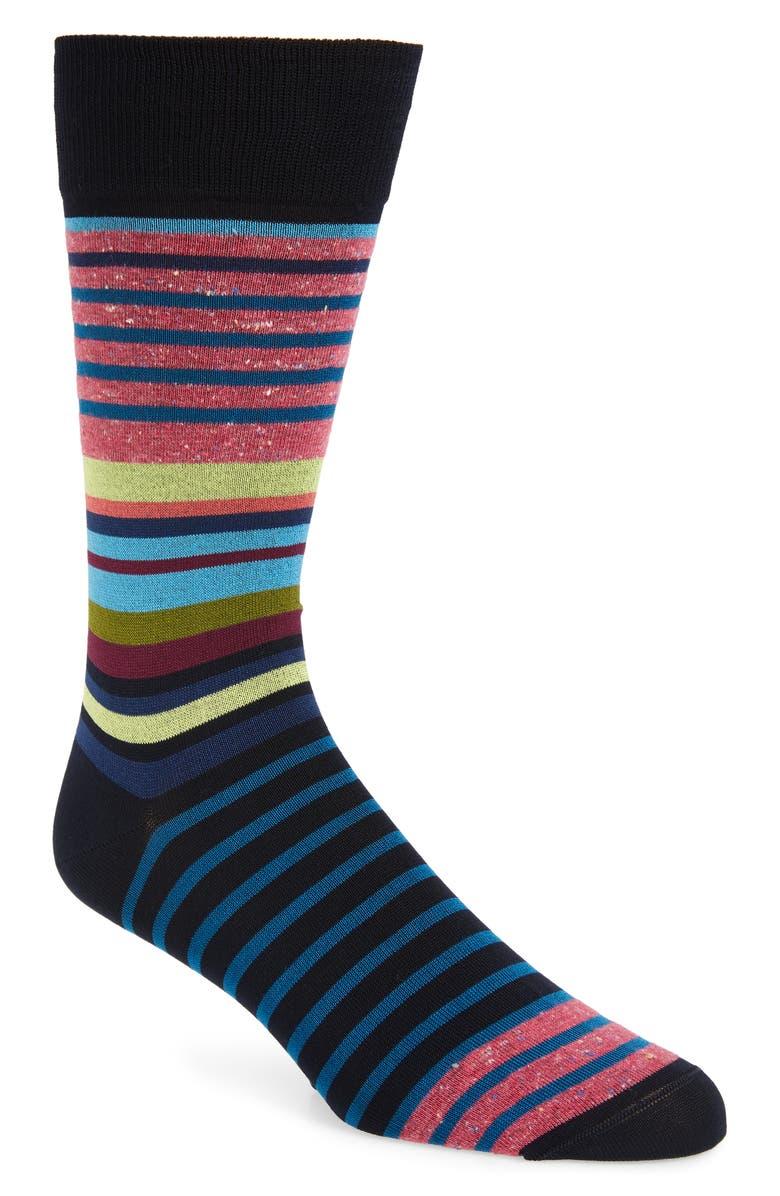 BUGATCHI Stripe Socks, Main, color, MIDNIGHT
