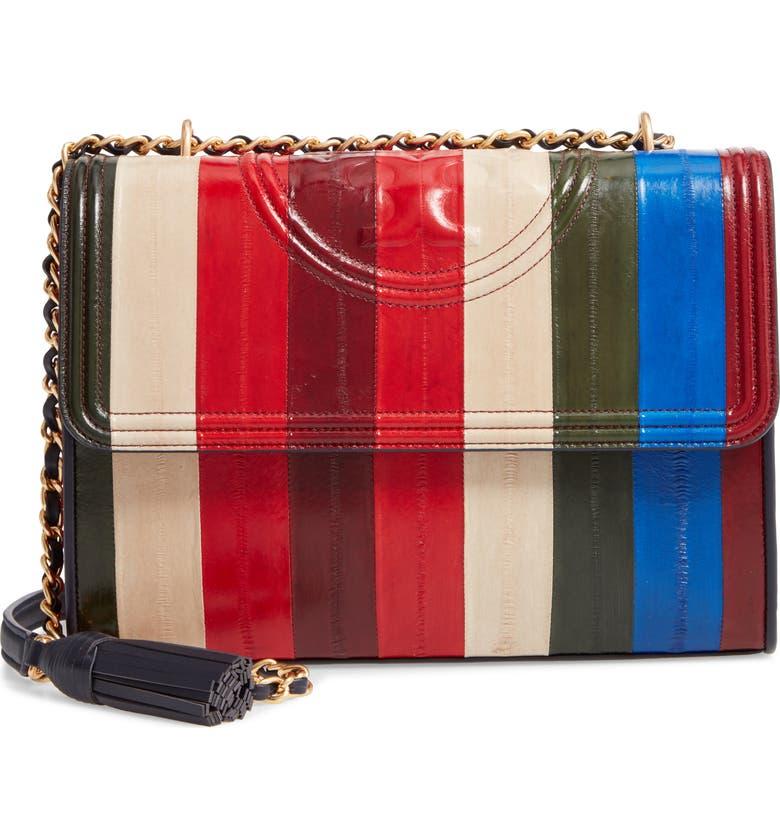 TORY BURCH Fleming Patchwork Eel Leather Convertible Shoulder Bag, Main, color, MULTI