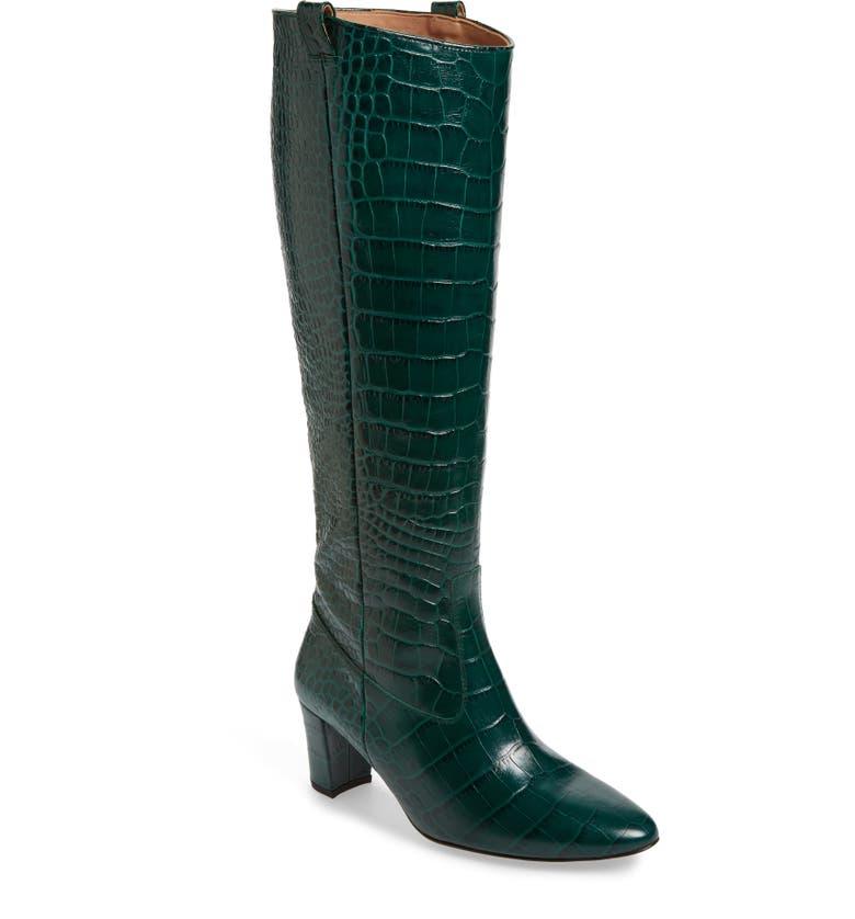VERONICA BEARD Abella Croc Embossed Knee High Boot (Women, Main, color, 304