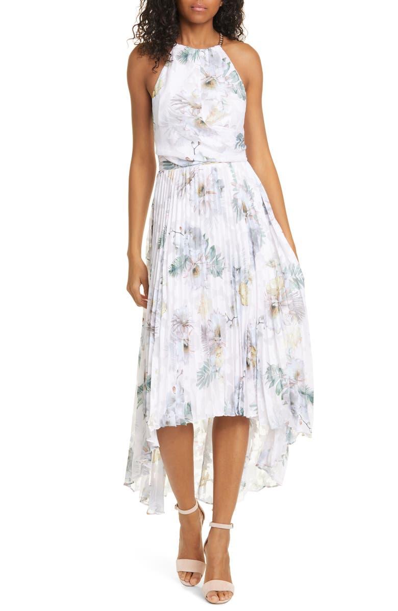 TED BAKER LONDON Daniiey Woodland Floral Halter Neck Dress, Main, color, PL-PINK