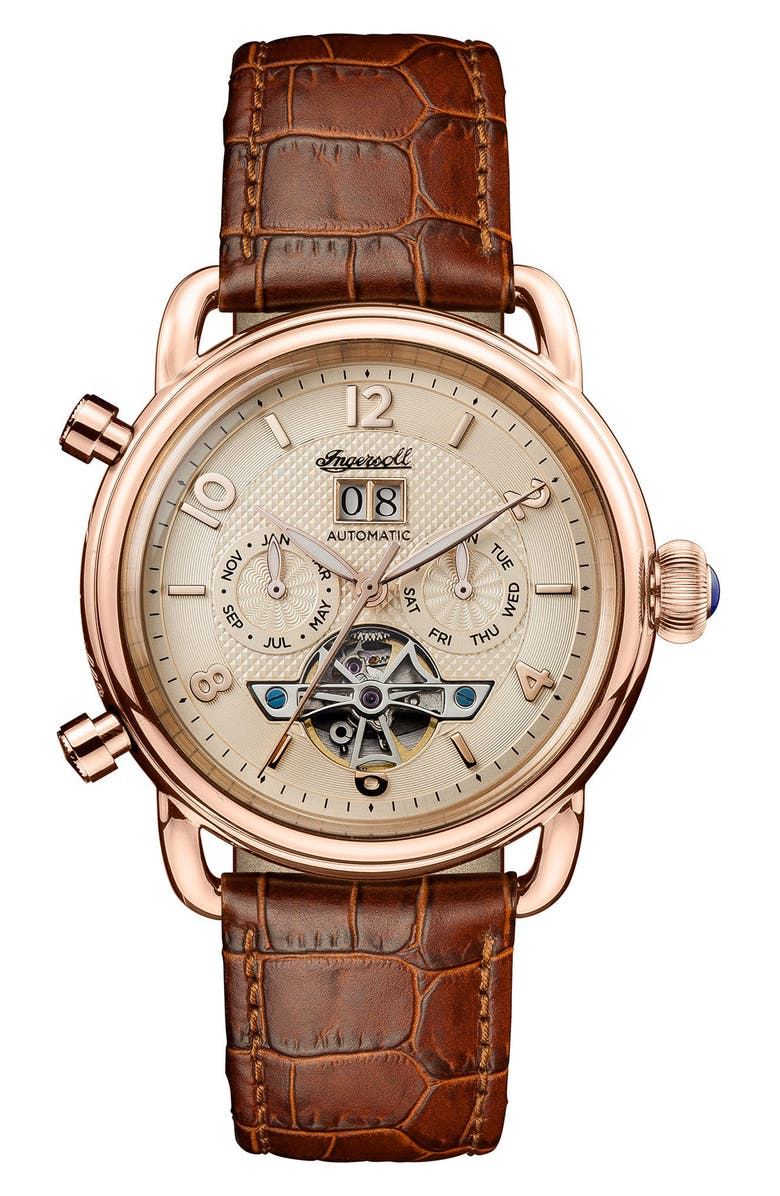 INGERSOLL New England Automatic Open Heart Leather Strap Watch, 42mm, Main, color, 200