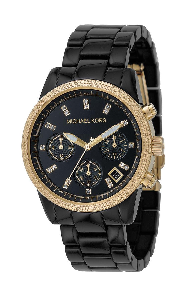 MICHAEL MICHAEL KORS Michael Kors 'The Ritz' Chronograph Bracelet Watch, 36mm, Main, color, 001