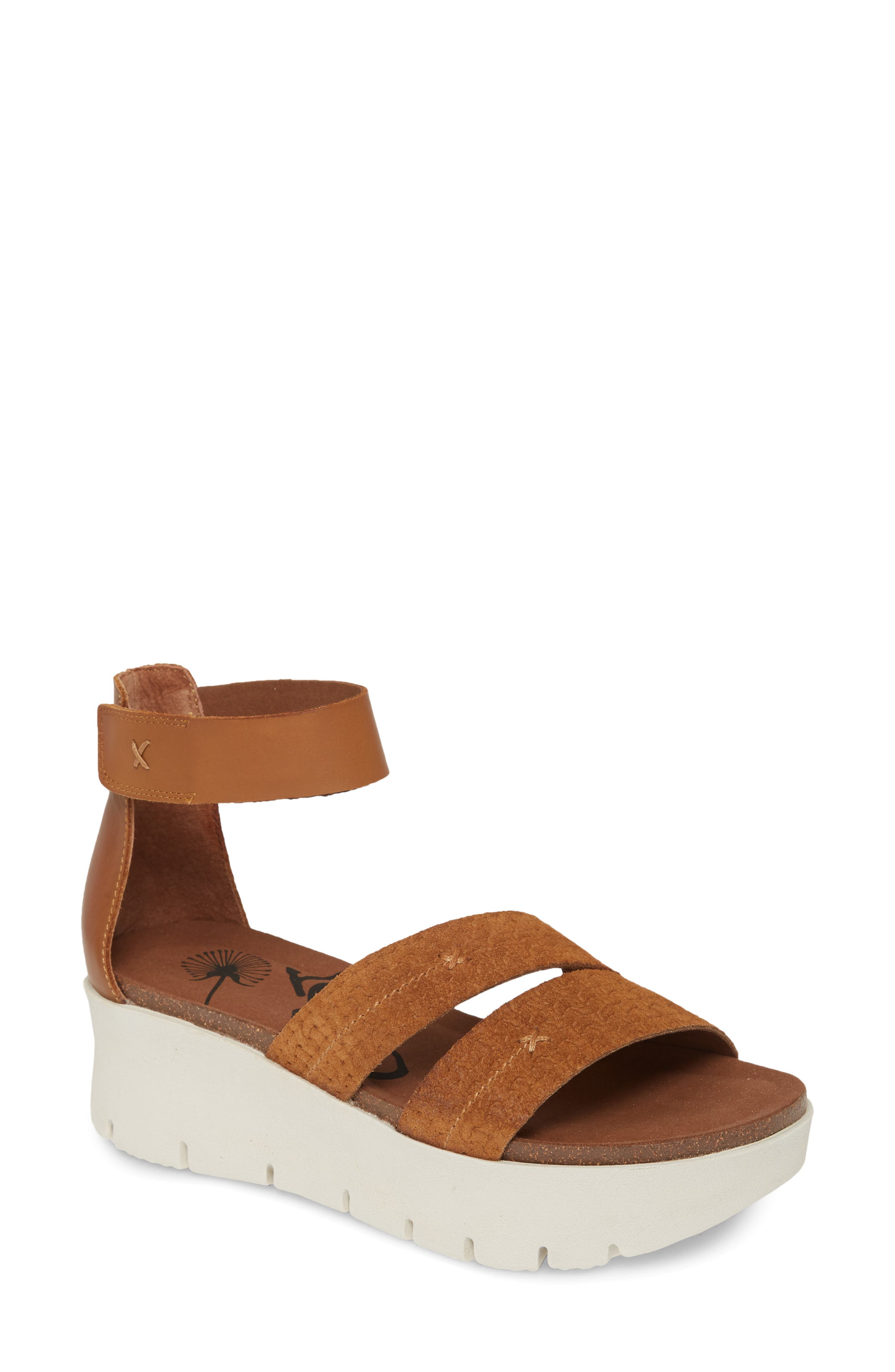 A topstitched \\\'X\\\' marks the strap of a lightweight, travel-ready sandal designed with a cushy memory foam footbed atop a sporty platform sole. Style Name: Otbt Montauk Platform Sandal (Women). Style Number: 6001754. Available in stores.