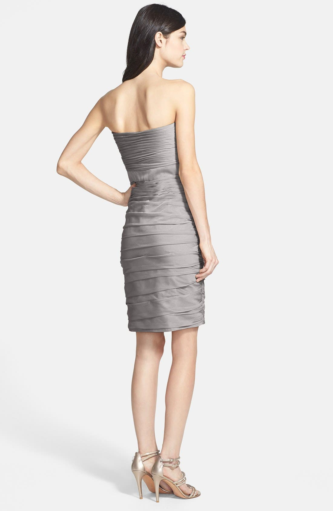 ,                             Ruched Strapless Cationic Chiffon Dress,                             Alternate thumbnail 7, color,                             020