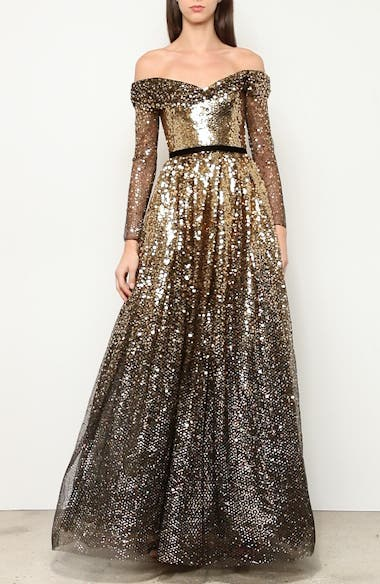 Off the Shoulder Long Sleeve Ombré Sequin Gown, video thumbnail