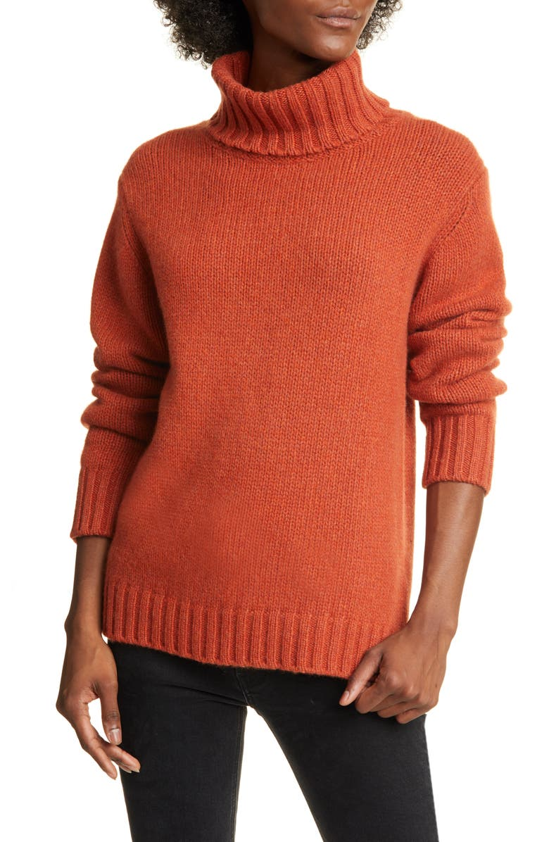 ALLUDE Cashmere Turtleneck Sweater, Main, color, RED