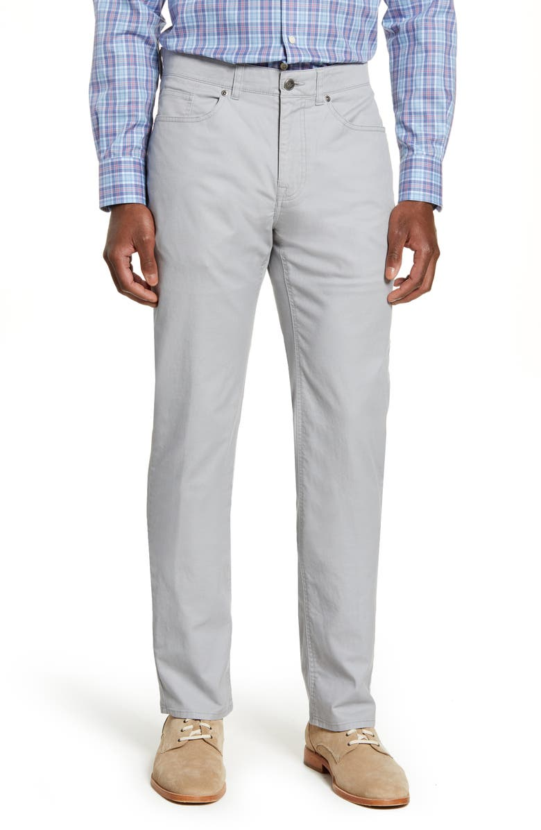 PETER MILLAR Soft Touch Twill Straight Leg Pants, Main, color, GALE GREY