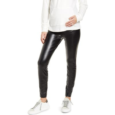 Fourteenth Place Over The Belly Maternity Faux Leather Leggings, Black
