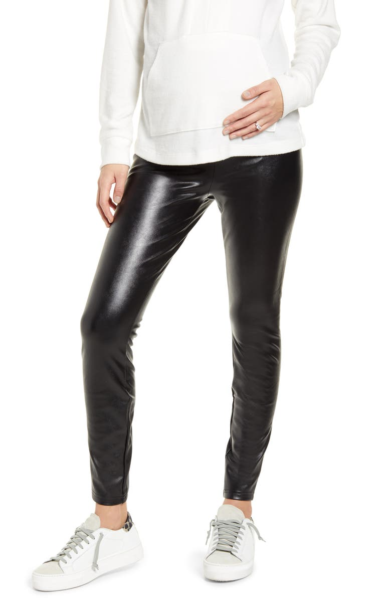 FOURTEENTH PLACE Over the Belly Maternity Faux Leather Leggings, Main, color, BLACK