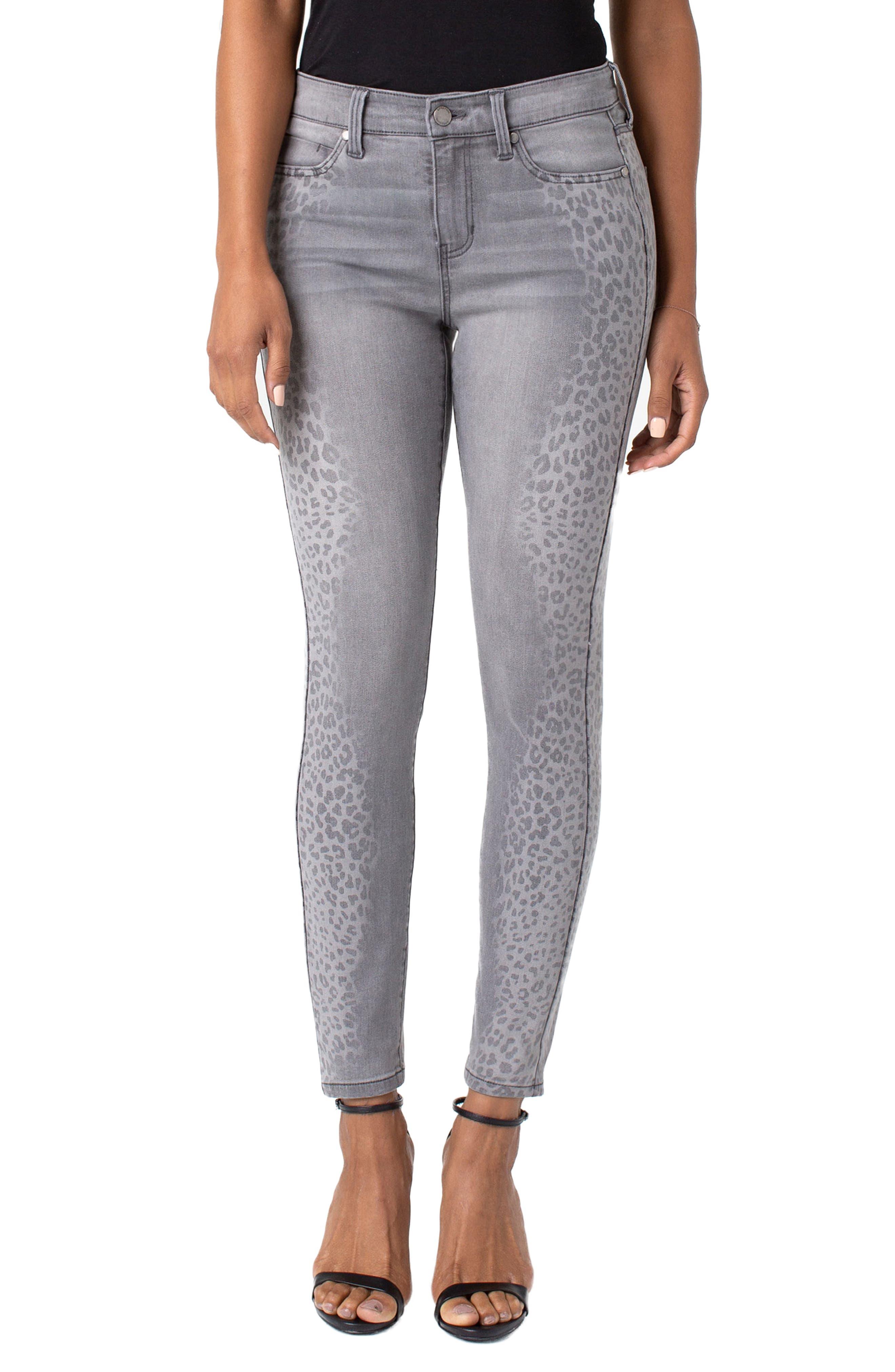 ,                             Abby Side Cheetah Print Ankle Skinny Jeans,                             Main thumbnail 1, color,                             ALUMINUM