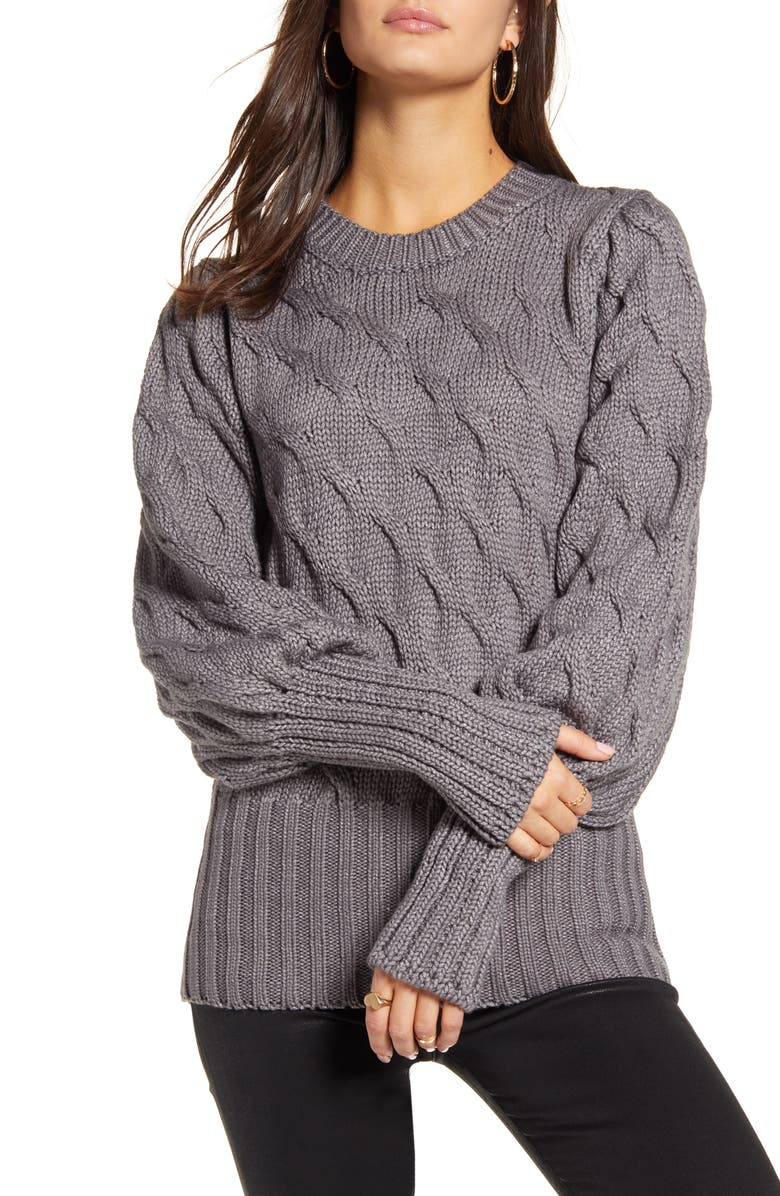 4SI3NNA Drea Cable Knit Sweater, Main, color, CHARCOAL