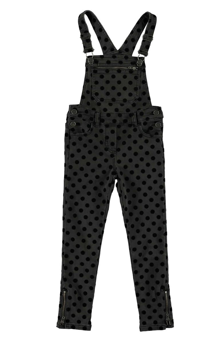 STELLA MCCARTNEY KIDS Dot Denim Overalls, Main, color, BLACK