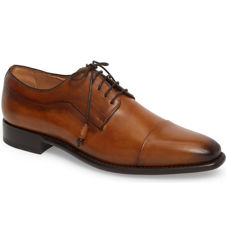 MEZLAN Tarifa Cap Toe Derby, Main, color, HONEY LEATHER