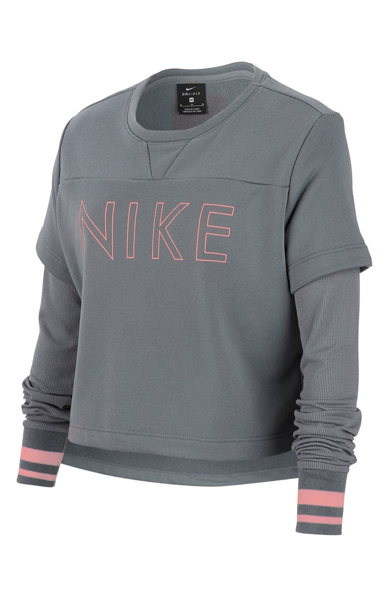 NIKE Dri-FIT Studio Crop Training Top, Main, color, COOL GREY/ BLEACHED CORAL