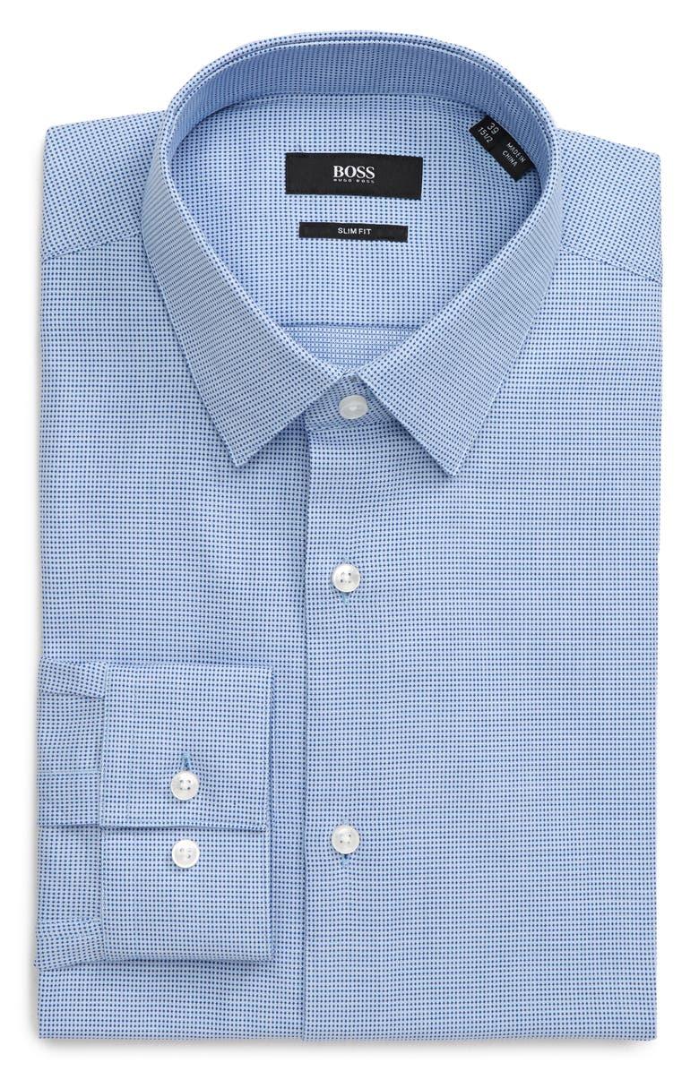 BOSS Isko Slim Fit Geometric Dress Shirt, Main, color, BLUE