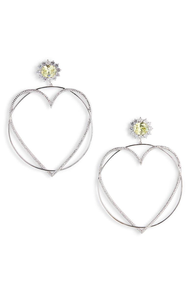 JIWINAIA Locked Heart Hoop Earrings, Main, color, RHODIUM PLATED BRASS