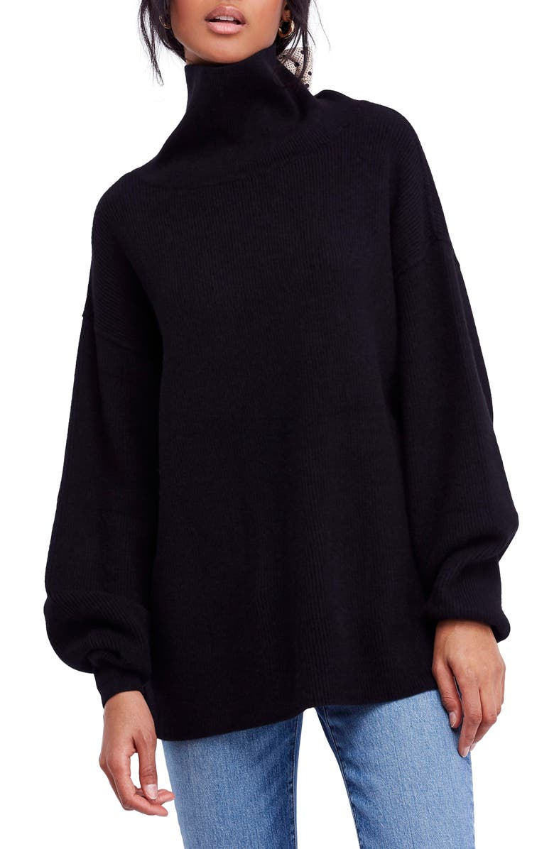 FREE PEOPLE Softly Structured Knit Tunic, Main, color, BLACK