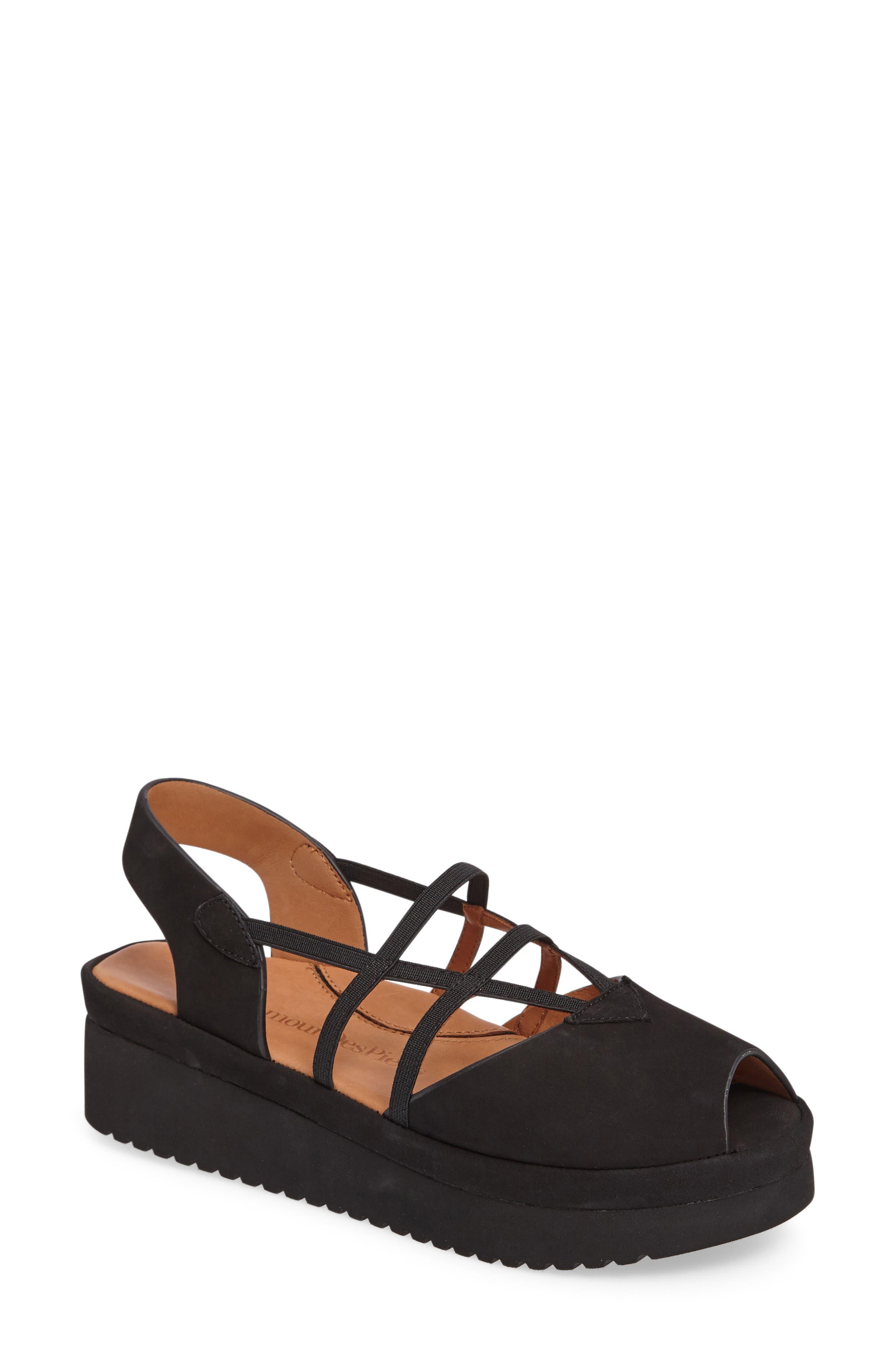 Adelais Platform Wedge Sandal, Main, color, BLACK NUBUCK LEATHER