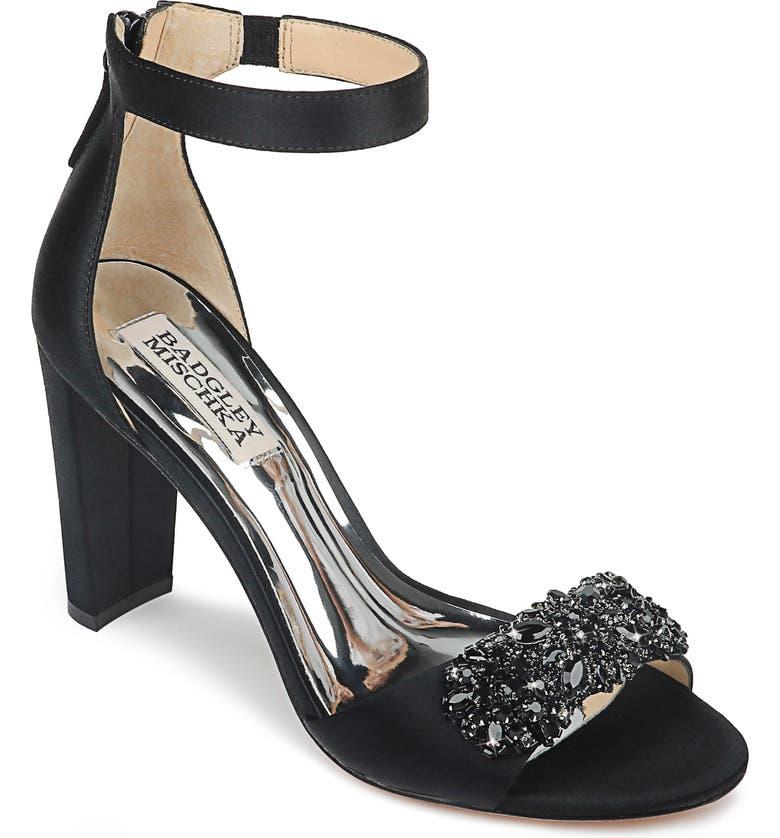 BADGLEY MISCHKA COLLECTION Badgley Mischka Edaline Crystal Embellished Ankle Strap Sandal, Main, color, BLACK SATIN