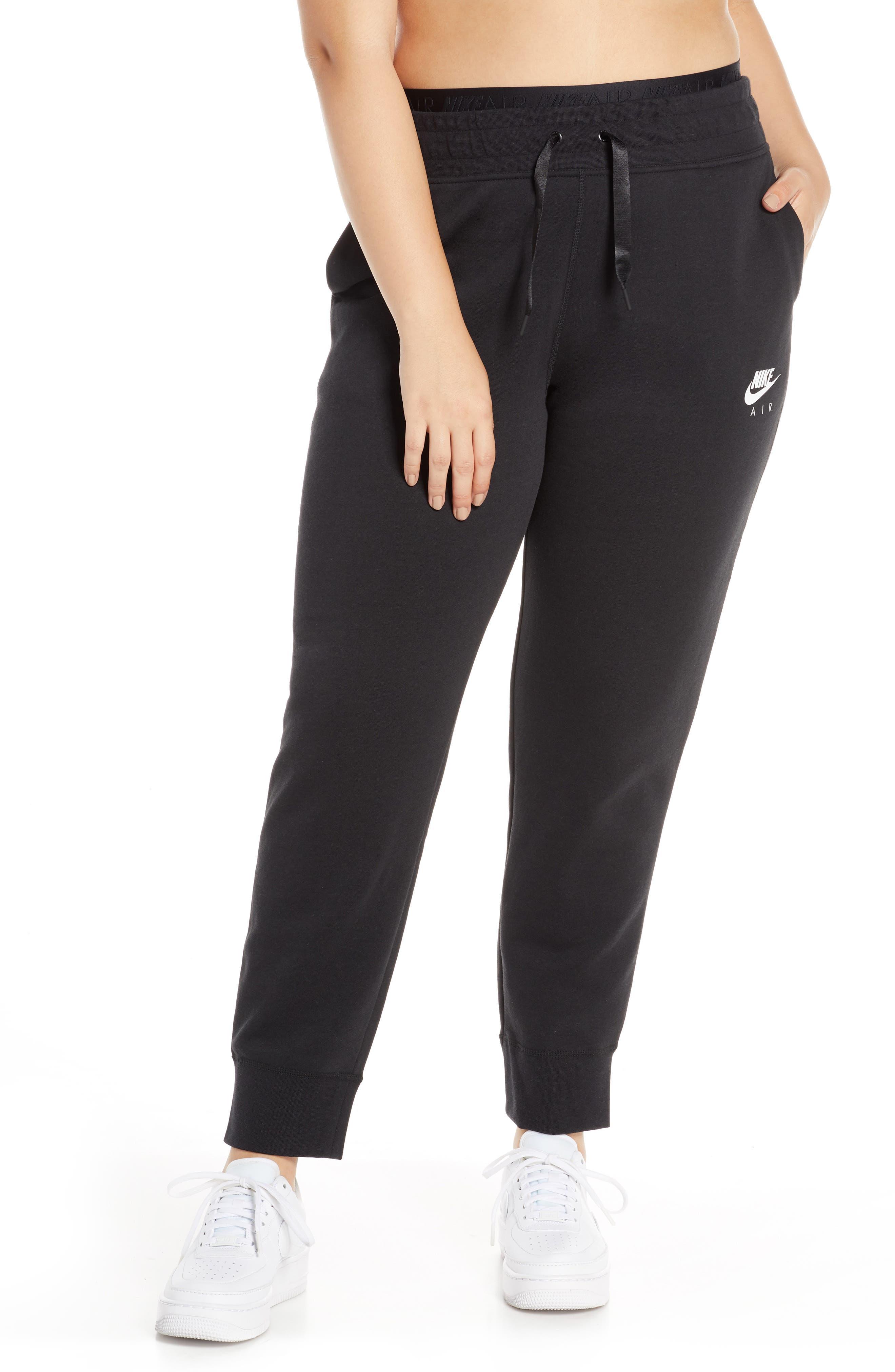 ,                             Sportswear Air Fleece Jogger Pants,                             Alternate thumbnail 4, color,                             BLACK/ WHITE