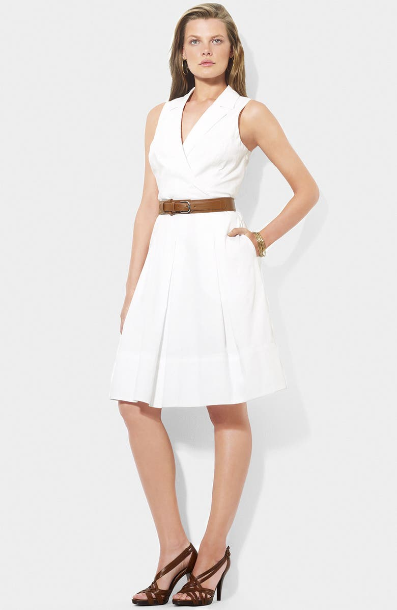 LAUREN RALPH LAUREN Lauren by Ralph Lauren Surplice Fit & Flare Cotton Dress, Main, color, 100