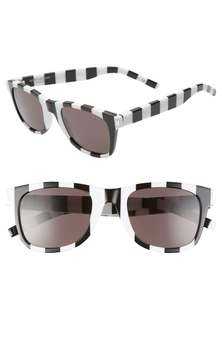 SAINT LAURENT 50mm Sunglasses, Main, color, SHINY STRIPES BLACK/ WHITE
