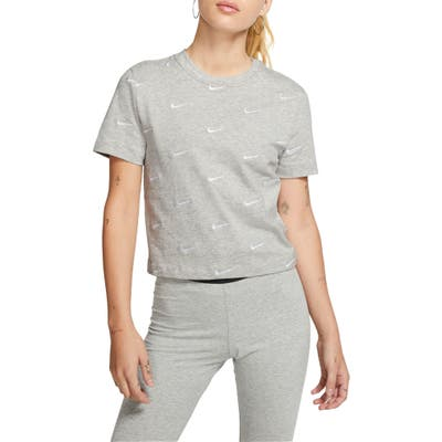 Nike Embroidered Swoosh Crop Tee, Grey