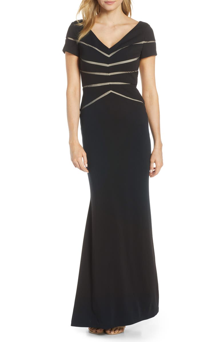 ADRIANNA PAPELL Mesh Inset Crepe Trumpet Gown, Main, color, 001