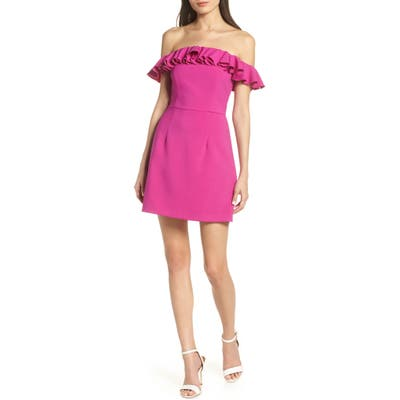 French Connection Whisper Light Off The Shoulder Ruffle Minidress, Purple