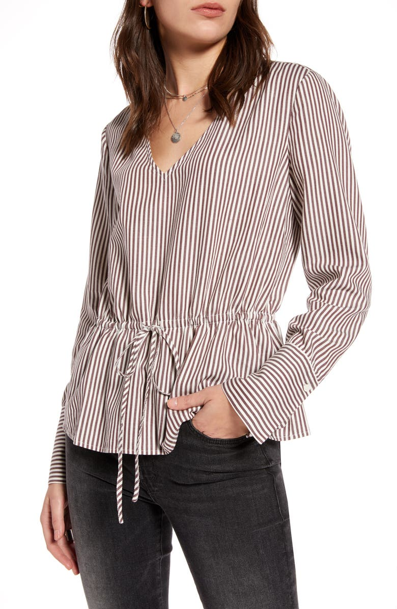 TREASURE & BOND Stripe Tie Waist Top, Main, color, BURGUNDY SASS- IVORY VAL STR