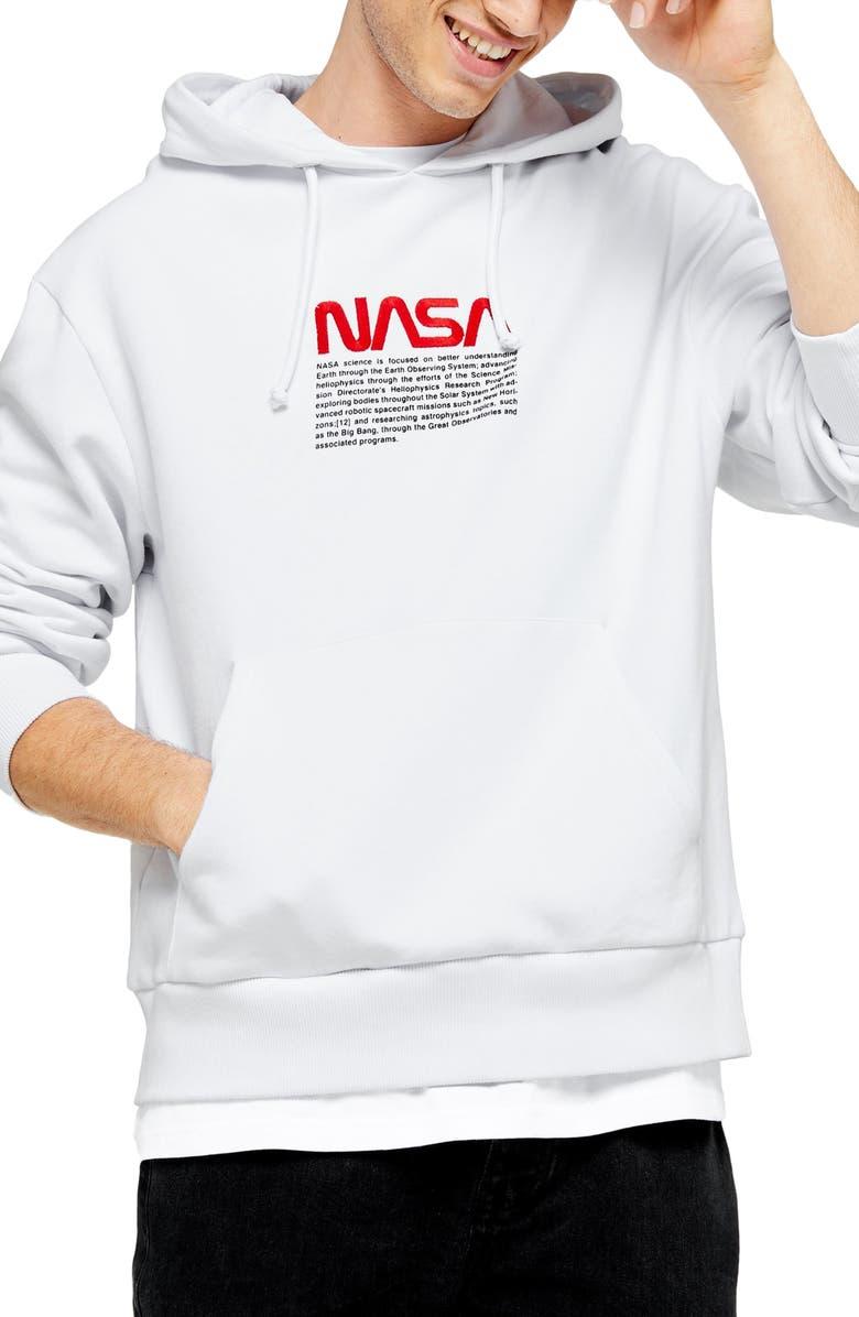 TOPMAN NASA Embroidered Hoodie, Main, color, WHITE MULTI