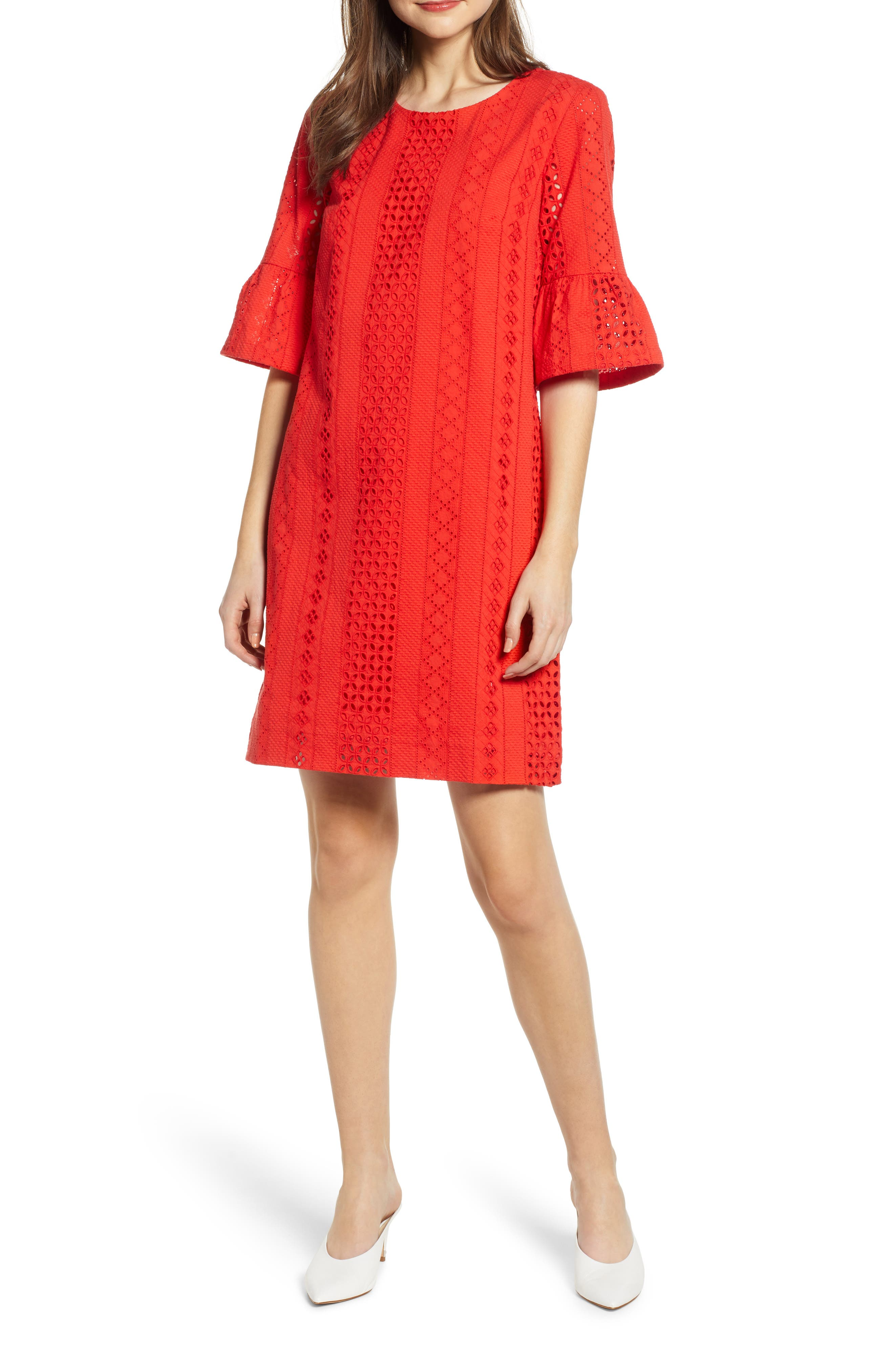 J.crew Flutter Sleeve Eyelet Dress, Red