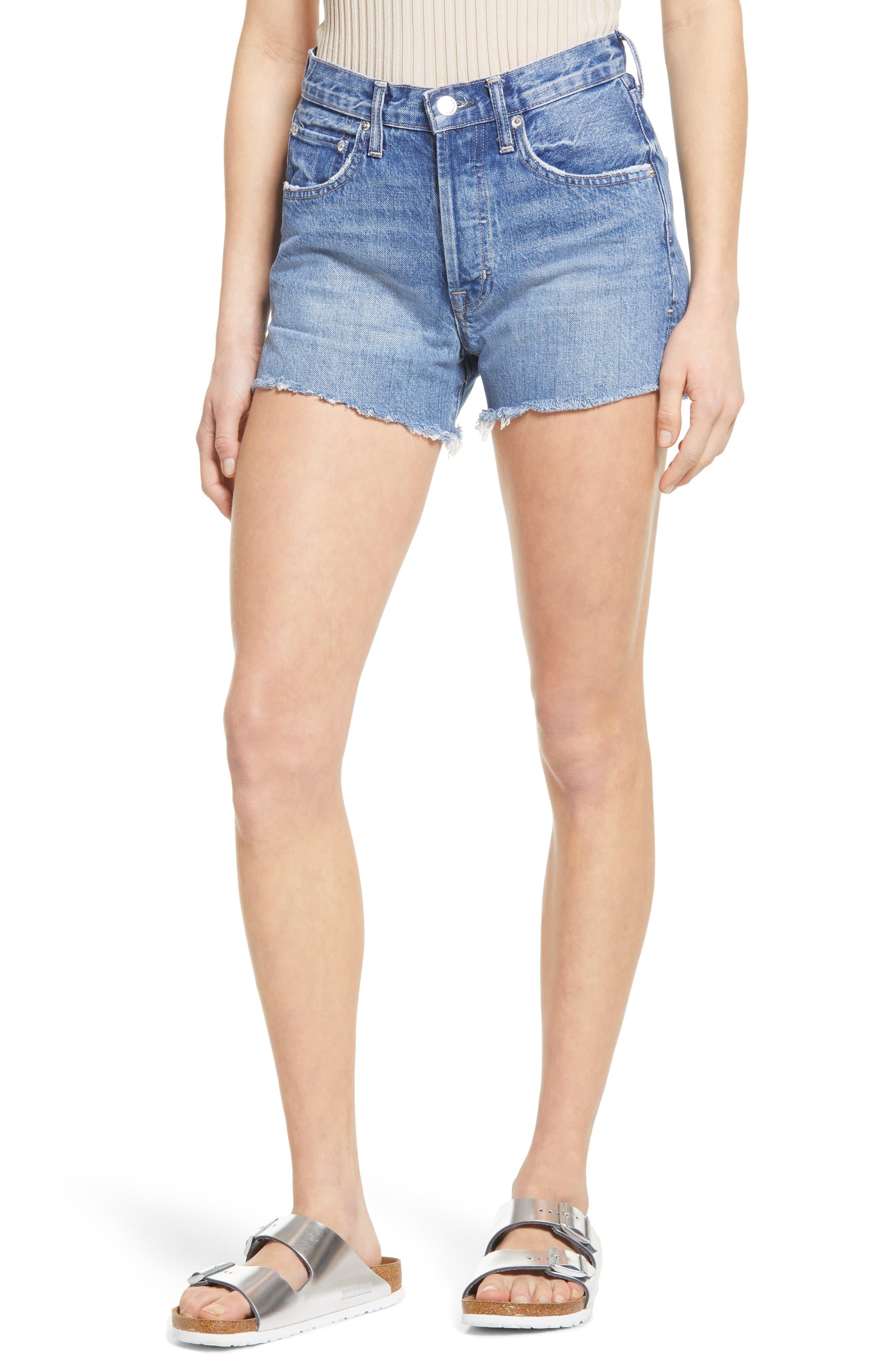 Cai High Waist Distressed Denim Cutoff Shorts