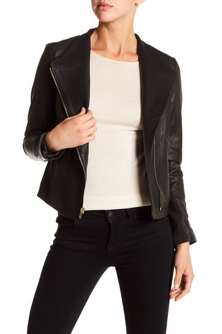 Image of Cole Haan Asymmetrical Front Zip Leather Jacket