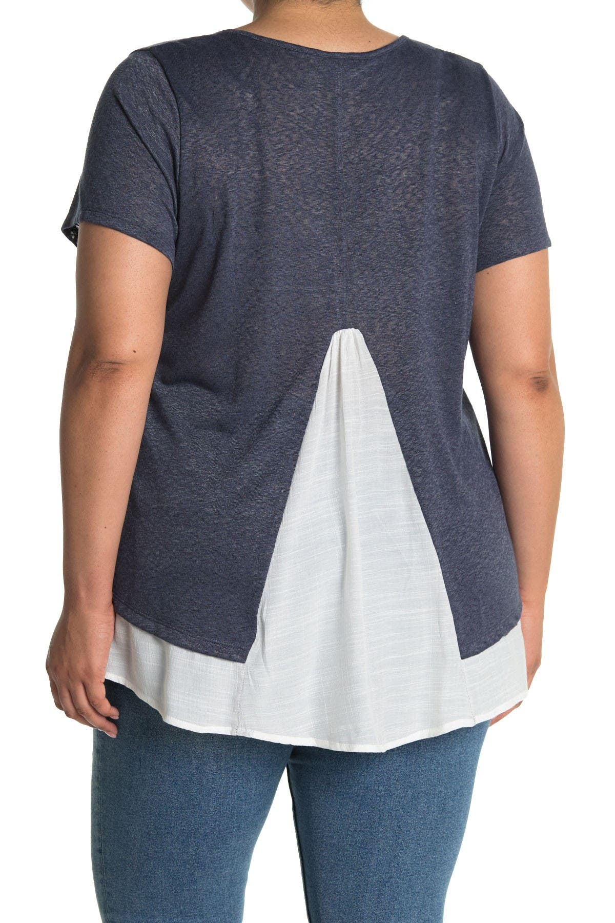 Image of Bobeau Caty Slub Knit Mixed Media T-Shirt